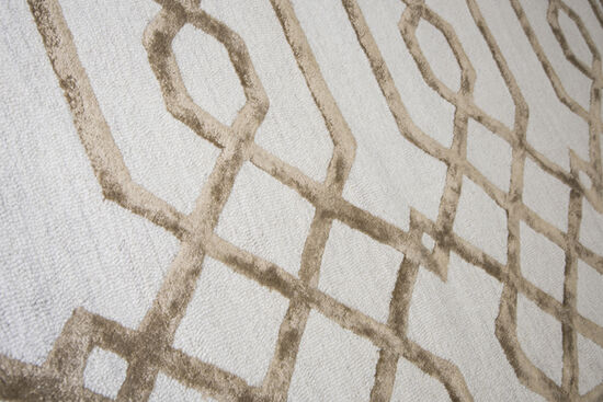 Geometric Hand-Tufted 9' x 12' Rectangle Rug in Cream