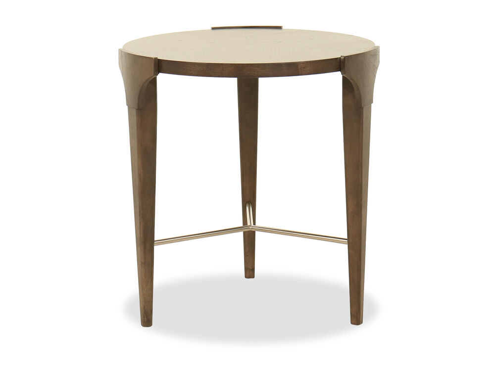 Transitional Round Lamp Table in Brown