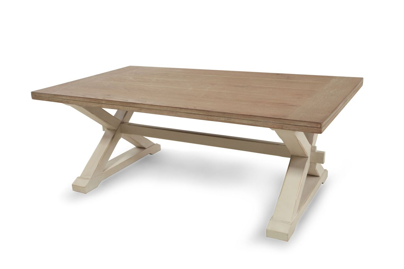 X Base Country Cocktail Table In Dark Oak Mathis Brothers Furniture