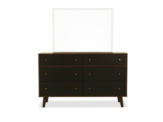 "37"" Modern Six-Drawer Dresser in Brown"