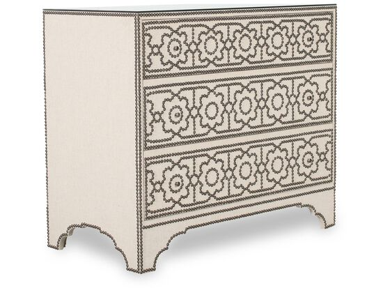 "33"" Nailhead-Accented Contemporary Three-Drawer Chest in White"
