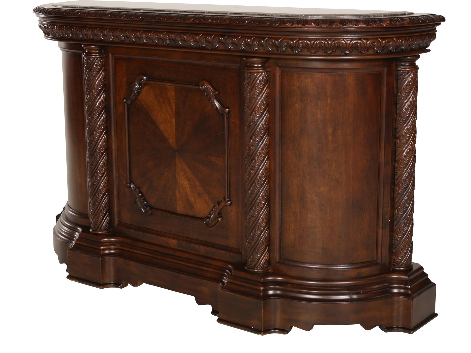 ... Traditional 42u0026quot; Bar With Pilastered Columns In Dark ...