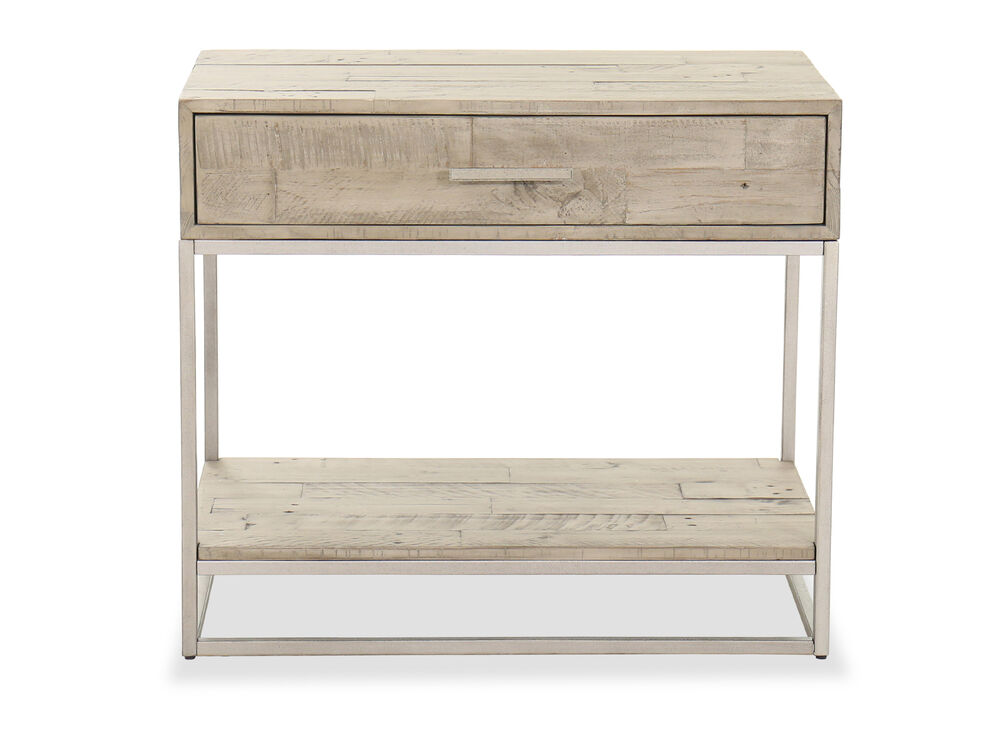 "28"" Modern One-Drawer Nightstand in Light Brown"