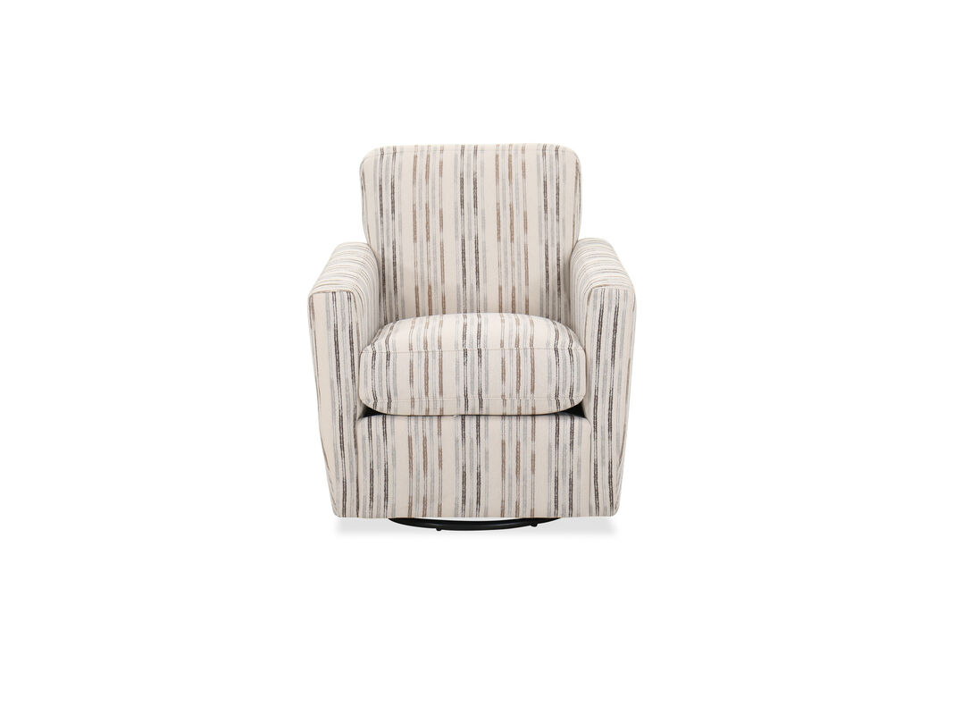 Contemporary Striped 30\'\' Swivel Chair in Beige | Mathis ...