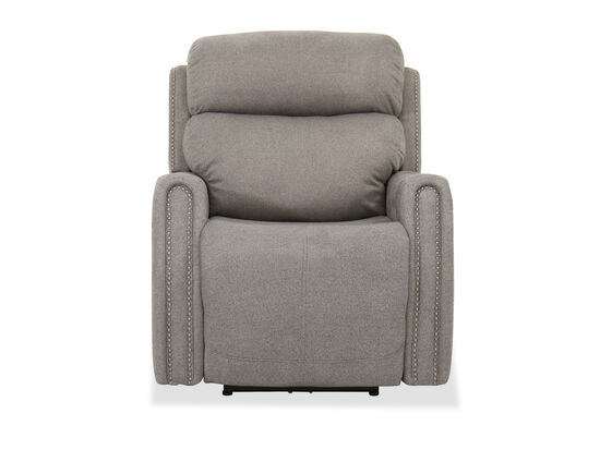Contemporary Nailhead Trim Power Recliner in Gray