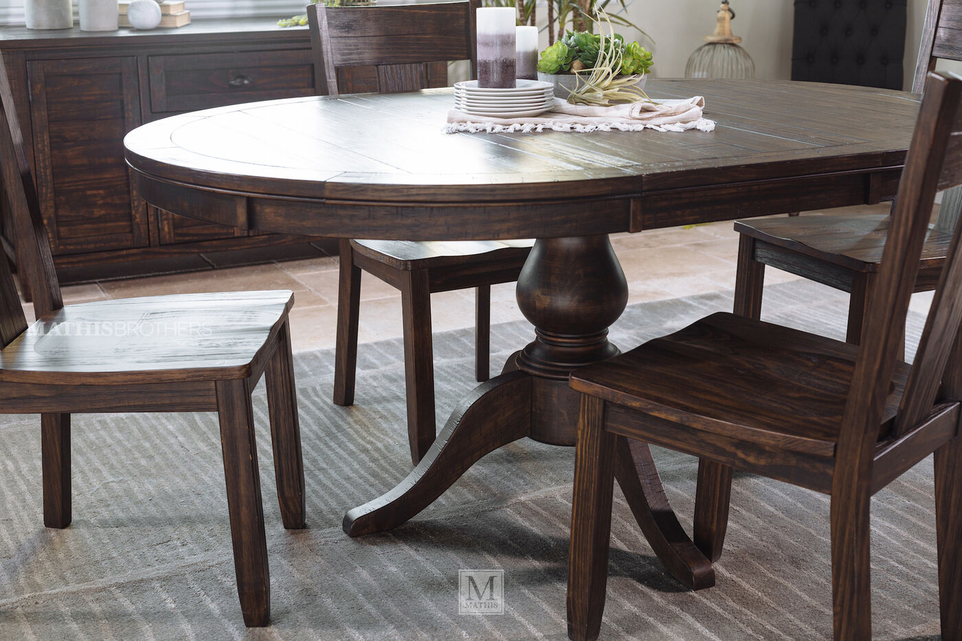 Rustic farmhouse 48 to 66 round solid pine table in dark for Dining room tables 48 round