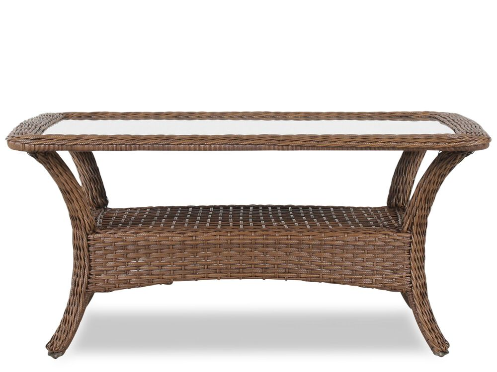 Woven Glass Top Cocktail Tablewith Shelf in Medium Brown