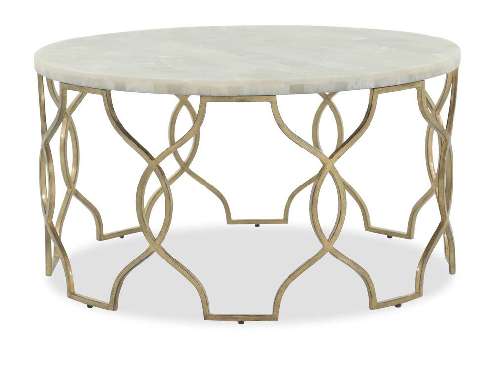 Openwork Round Traditional Cocktail Tablein Gold