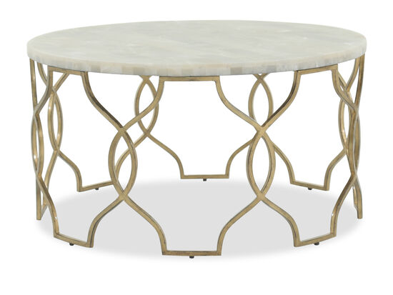 Openwork Round Traditional Cocktail Table in Gold