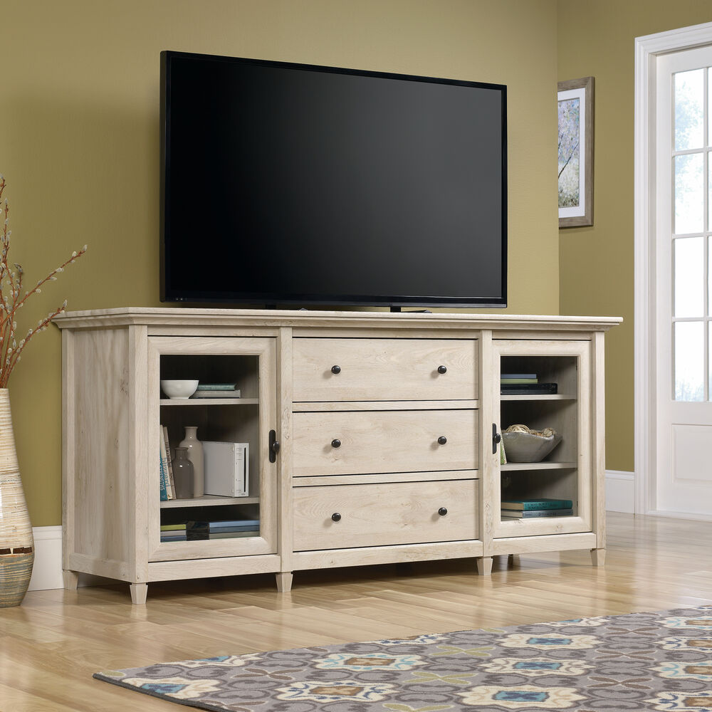 Solid Wood Tv Credenza: Three-Drawer Solid Wood Credenza In Chalked Chestnut