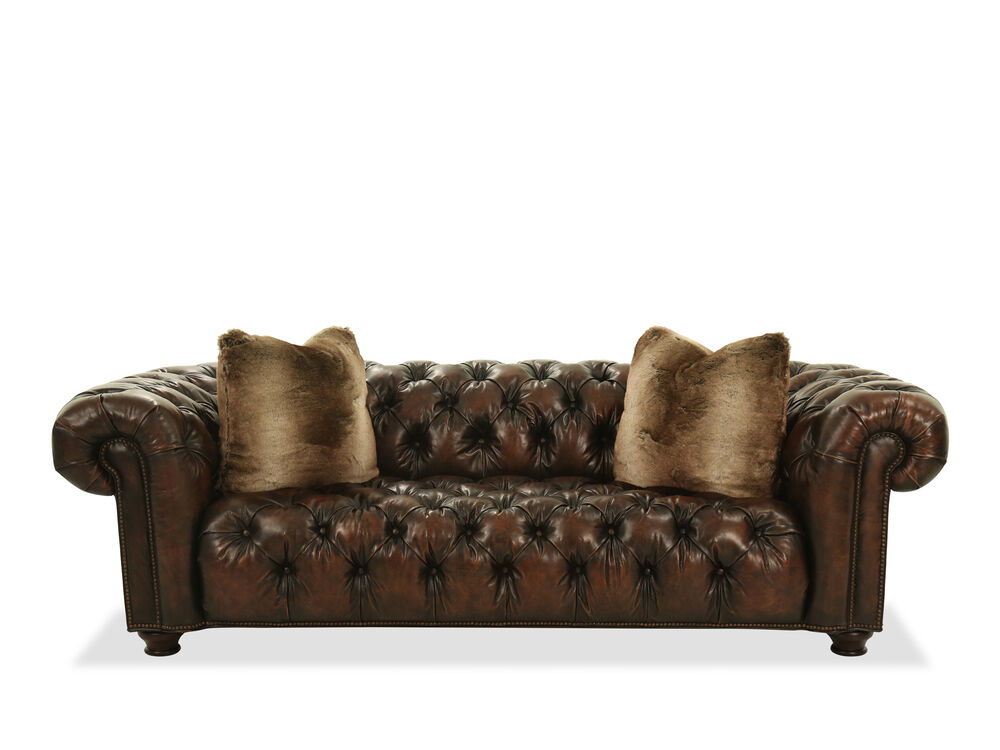"""Button-Tufted Contemporary 99"""" Leather Sofa in Brown"""