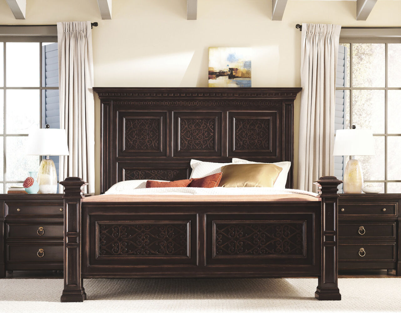 Bernhardt Pacific Canyon Panel Bed   Mathis Brothers Furniture
