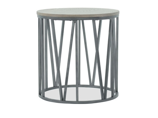 Drum-Base Casual End Table in Gray