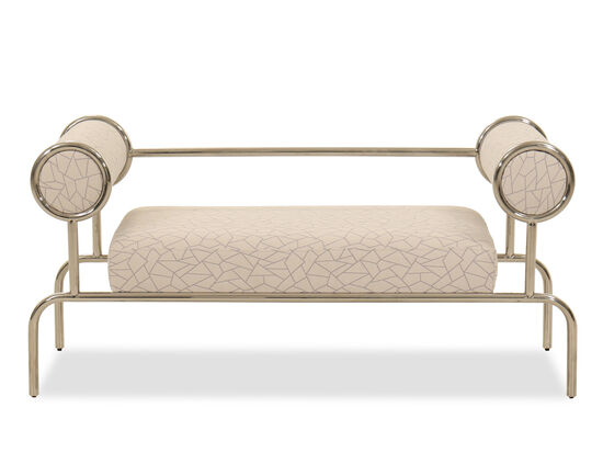 """Abstract-Patterned 54"""" Bed Bench in White"""