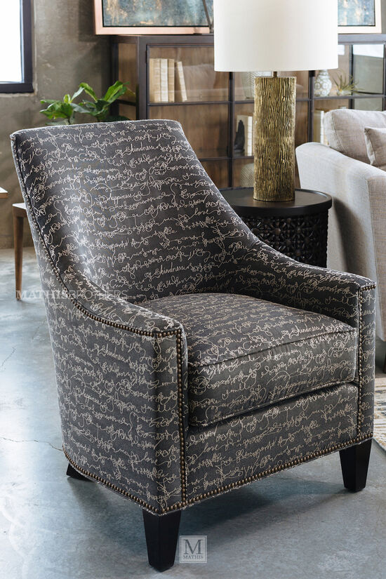 """Nailhead-Trimmed Mid-Century Modern 30"""" Chair in Gray"""