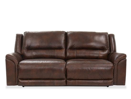 Two-Seat Contemporary 92'' Power Reclining Sofa in Mahogany