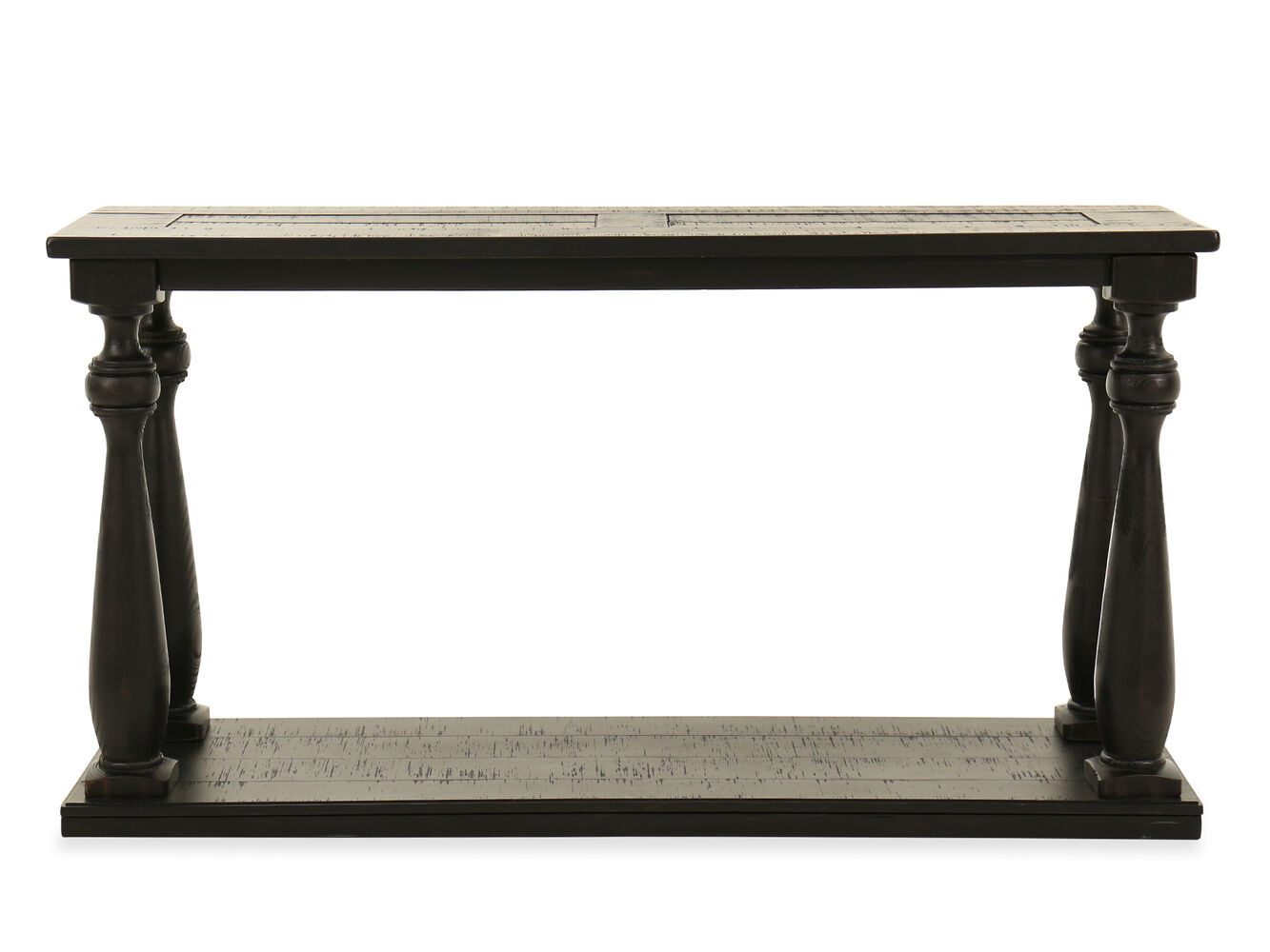 Turned legs casual sofa table in black mathis brothers for Sofa table vs console table