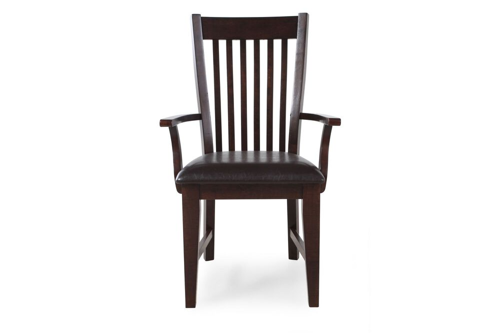 Two-Piece Slat Back 40'' Arm Chair Set in Dark Brown