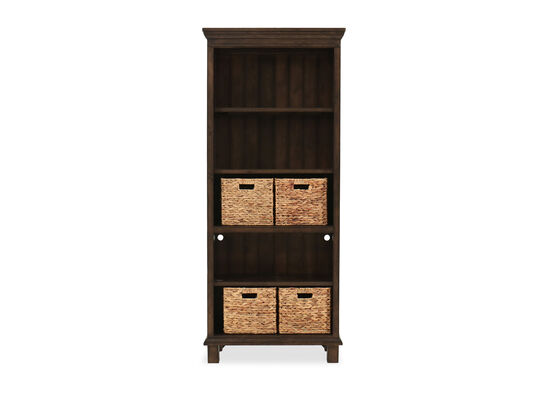 Transitional Open Bookcase in Shiitake