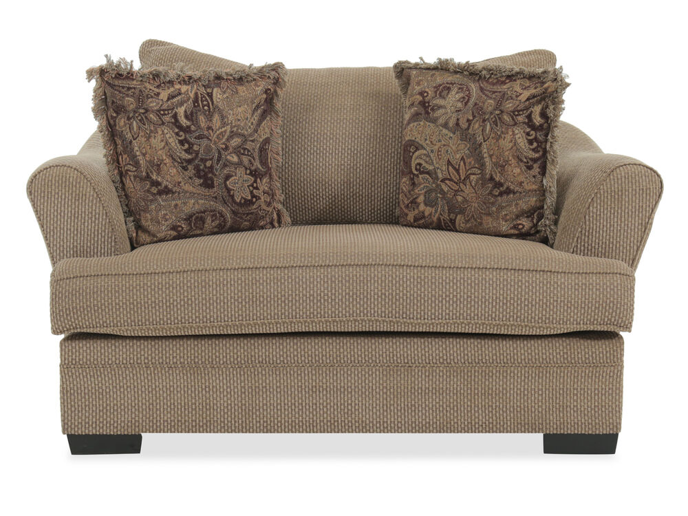 """Textured Traditional 70"""" Chair and a Half in Nutmeg Brown"""
