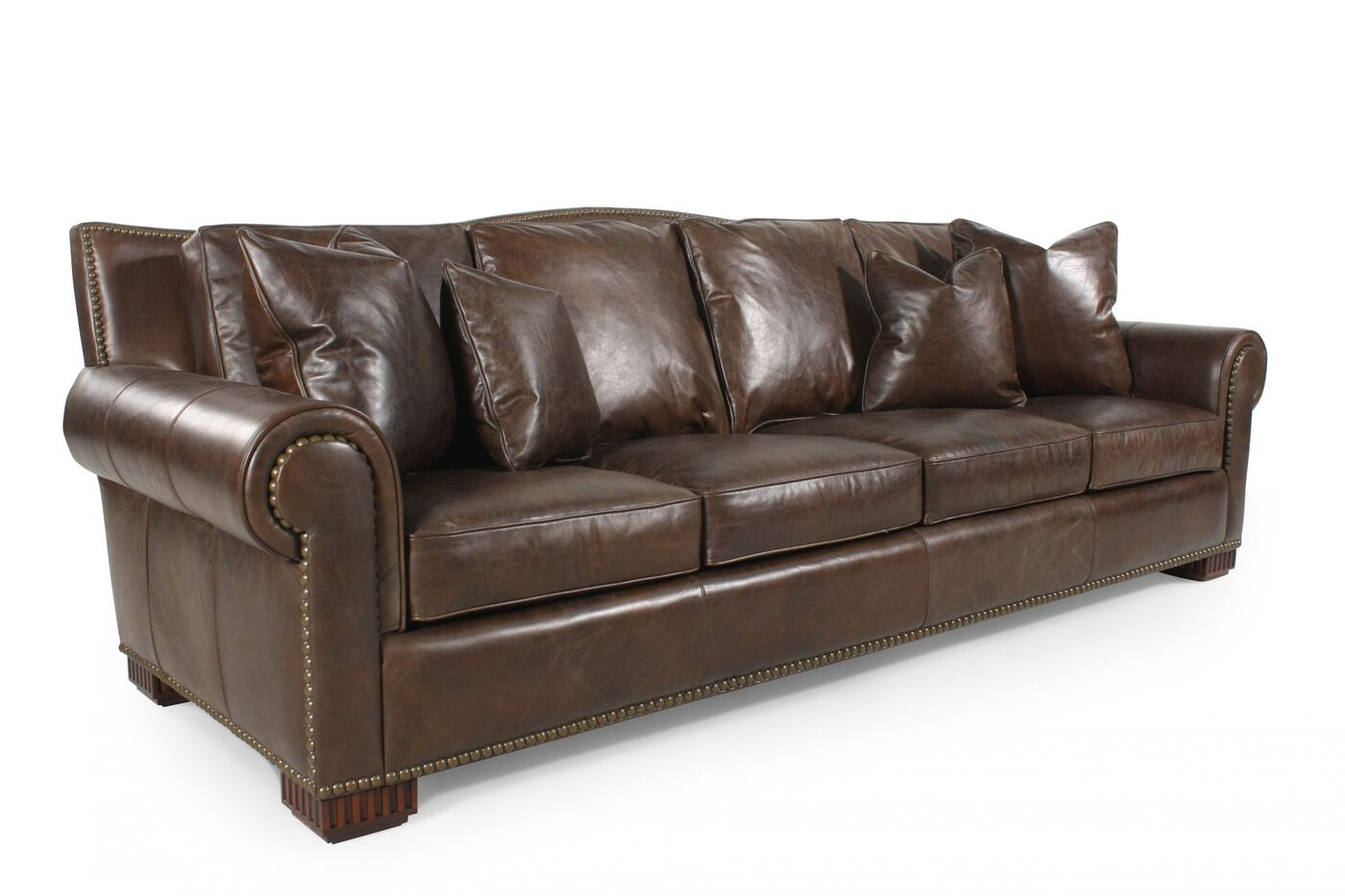 Nailhead accented leather sofa in chocolate brown mathis - Chocolate leather living room furniture ...