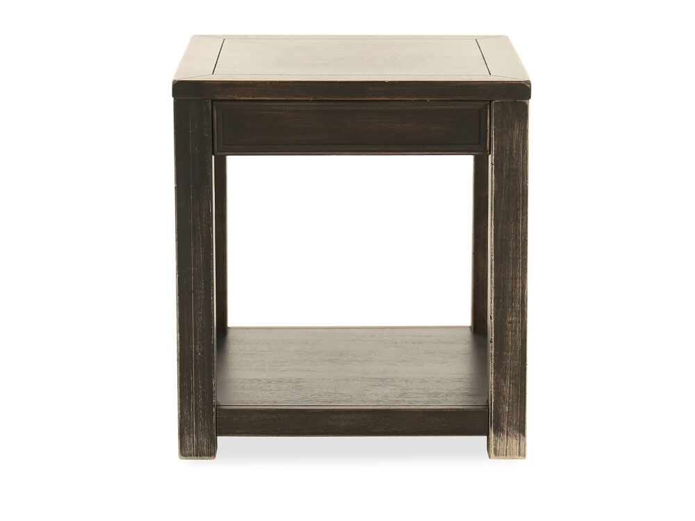 Weathered Square Casual End Tablein Black