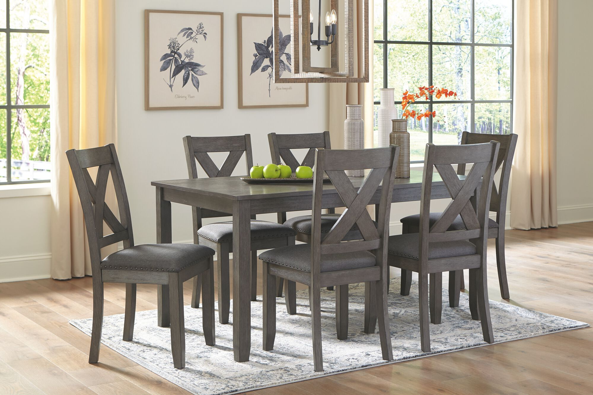 caitbrook gray rectangular dining room table set 7cn