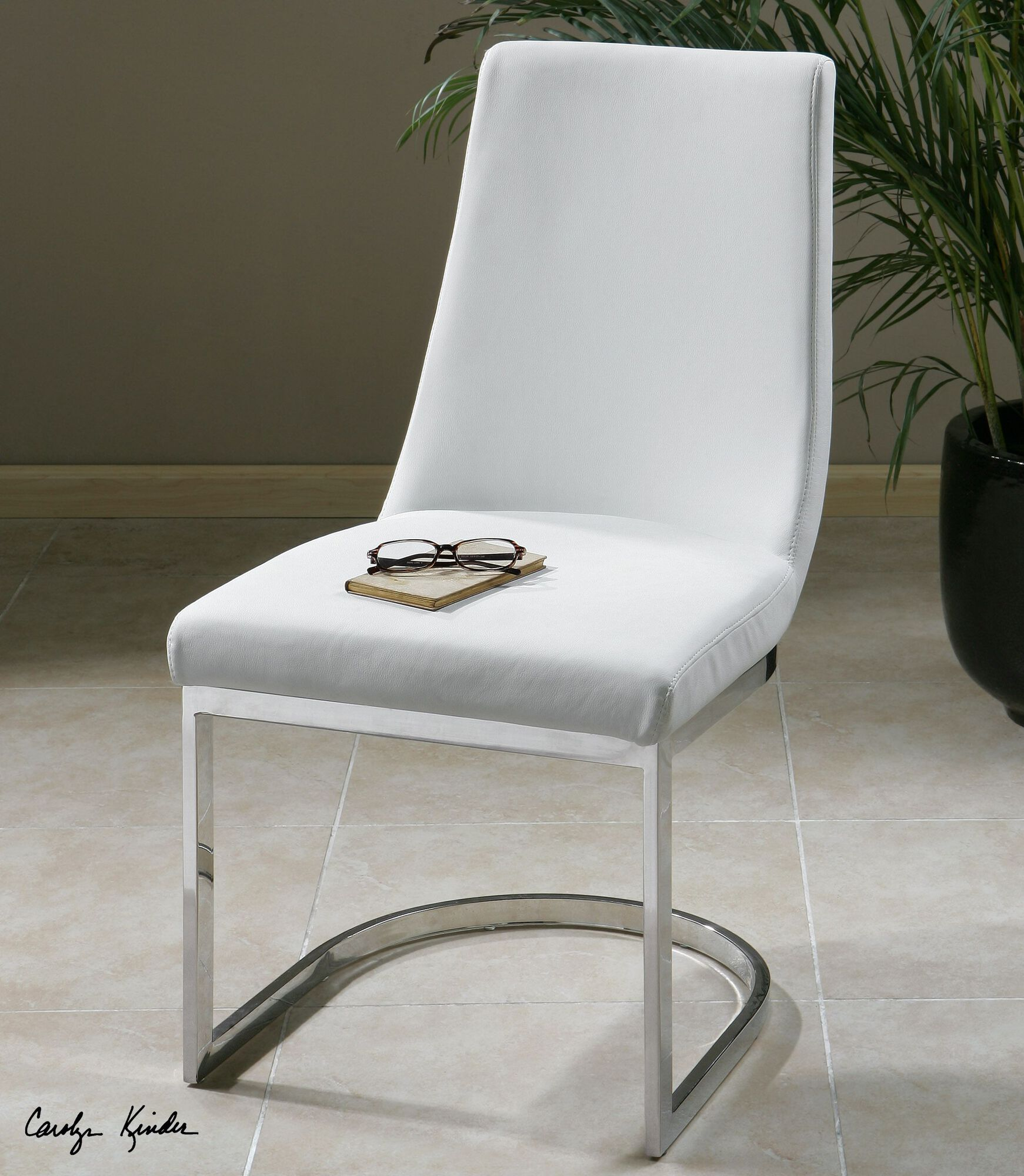 "Mathis Brothers Accent Reclining Chair: Armless 18.5"" Accent Chair In White"