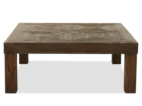 Square Pine Wood Coffee Table in Brown