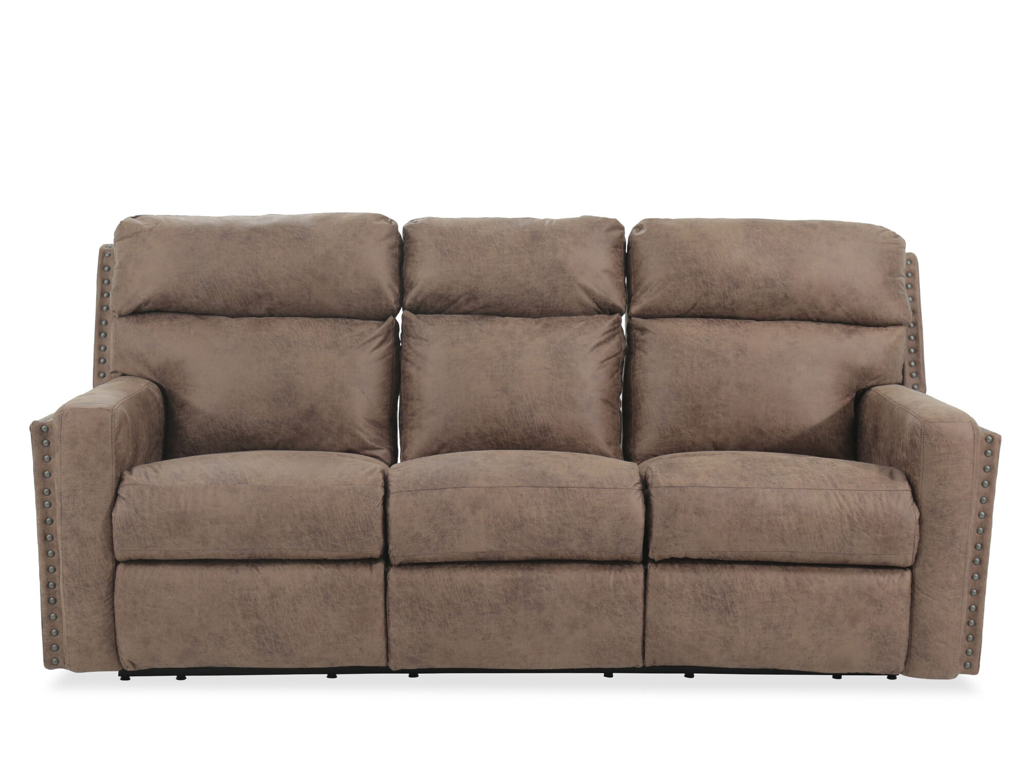 nailhead-accented leather reclining sofa in brown TBD3T5JU