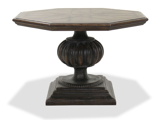 "46"" Octagonal Dining Table with Oversized Pedestal in Warm Brown"