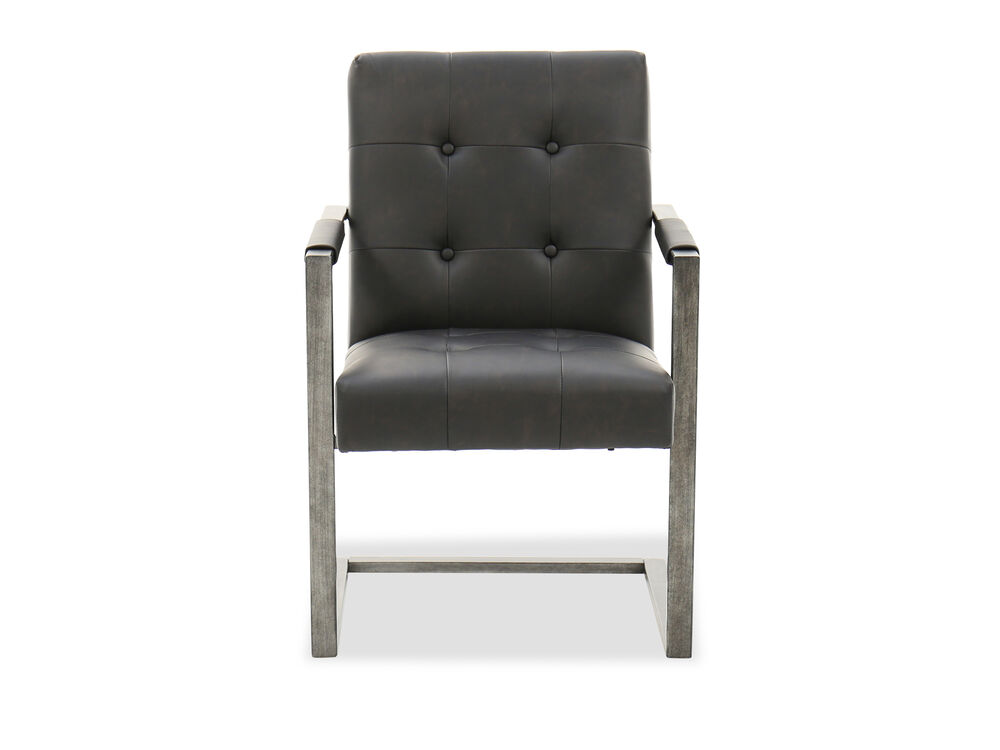 Button-Tufted Desk Chairin Blackened Gunmetal