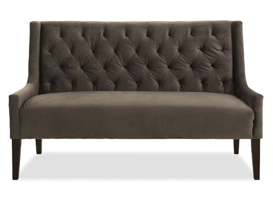 "Velvet Tufted 61"" Settee in Gray"