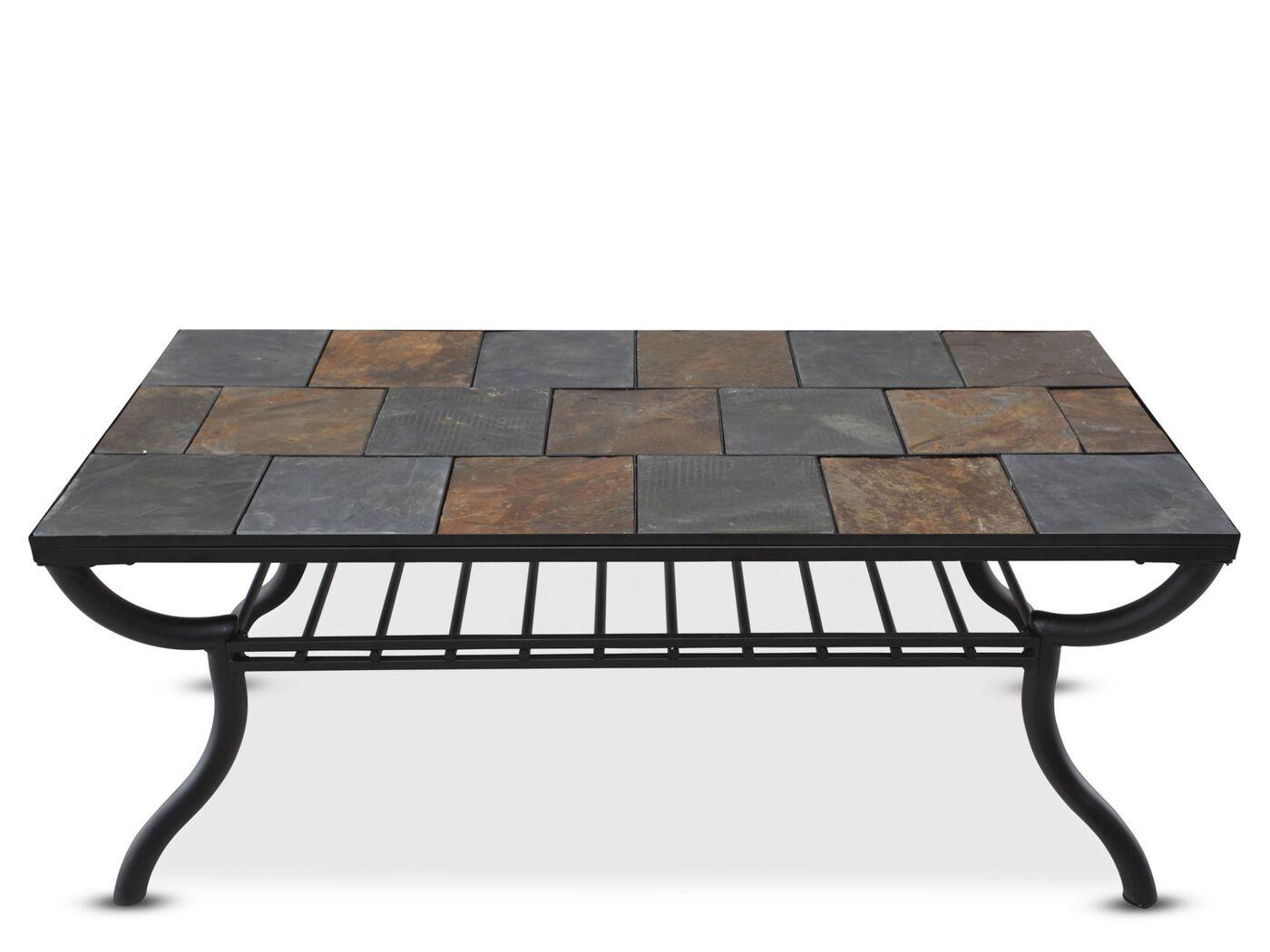 Tile Top Rectangular Cocktail Table In Gunmetal Mathis