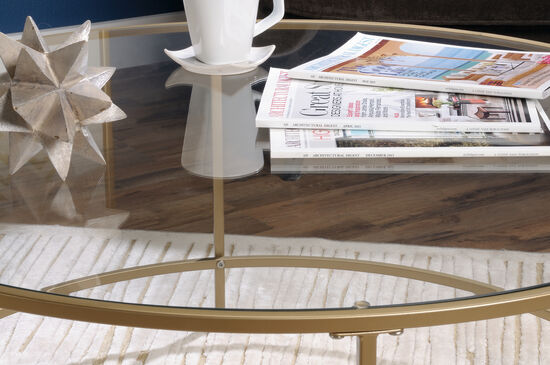 Round Glass-Top Contemporary Coffee Tablein Satin Gold