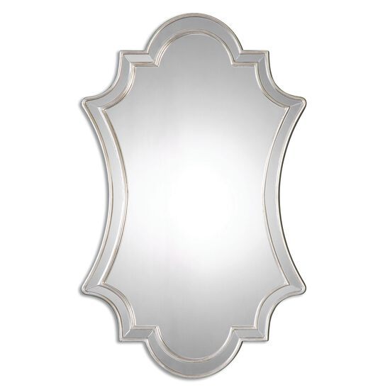 """43"""" Curved Wall Mirrorin Antique Silver"""