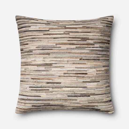 """Contemporary 22""""x22"""" Cover w/down pillow in Grey"""