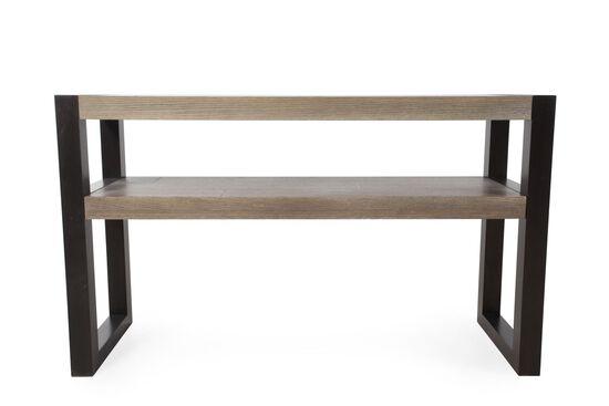 Open Shelf Contemporary Sofa Table in Dark Stone