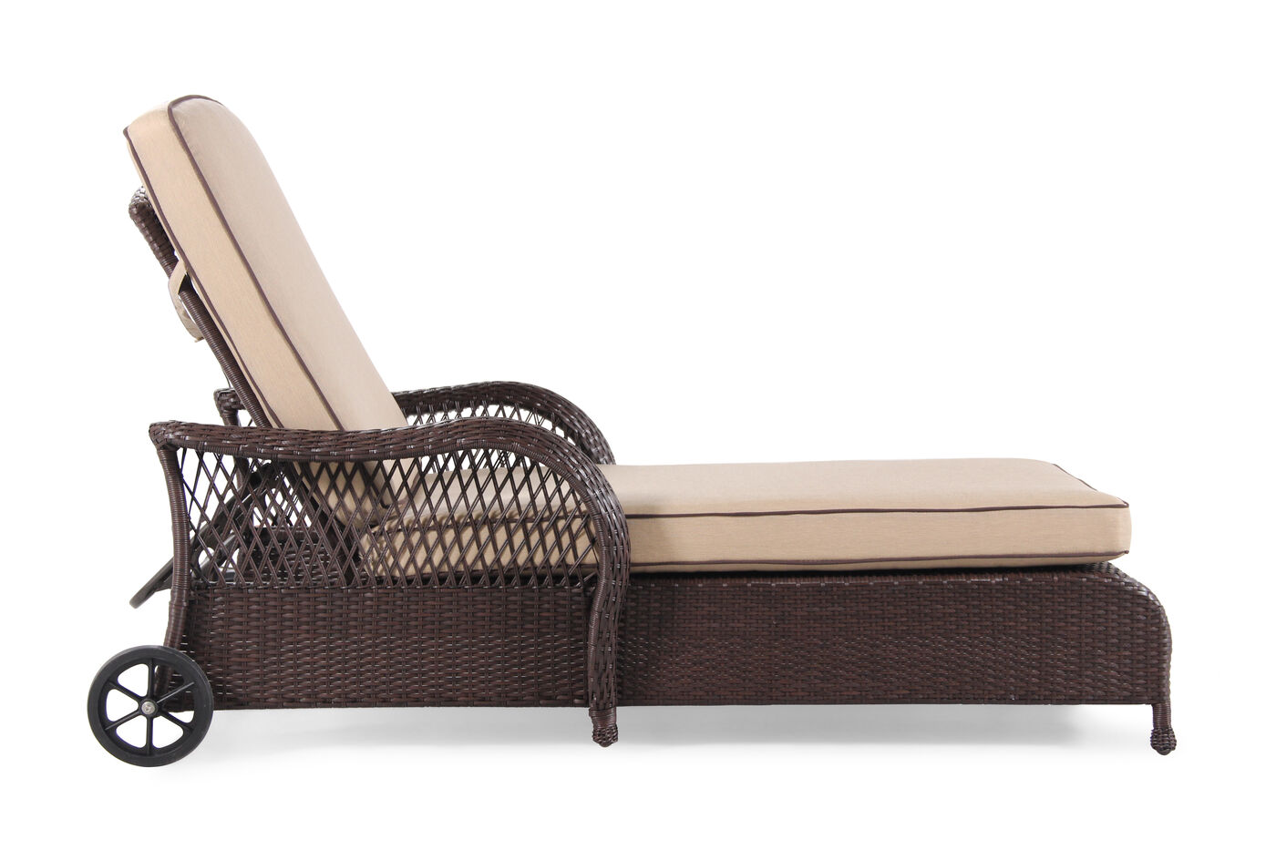 all weather adjustable aluminum chaise in brown mathis