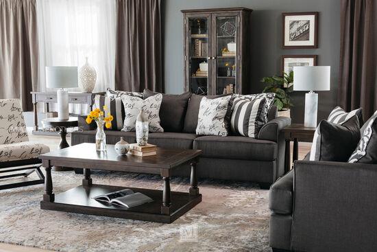 Turned Pedestals Contemporary Sofa Table in Dark Espresso