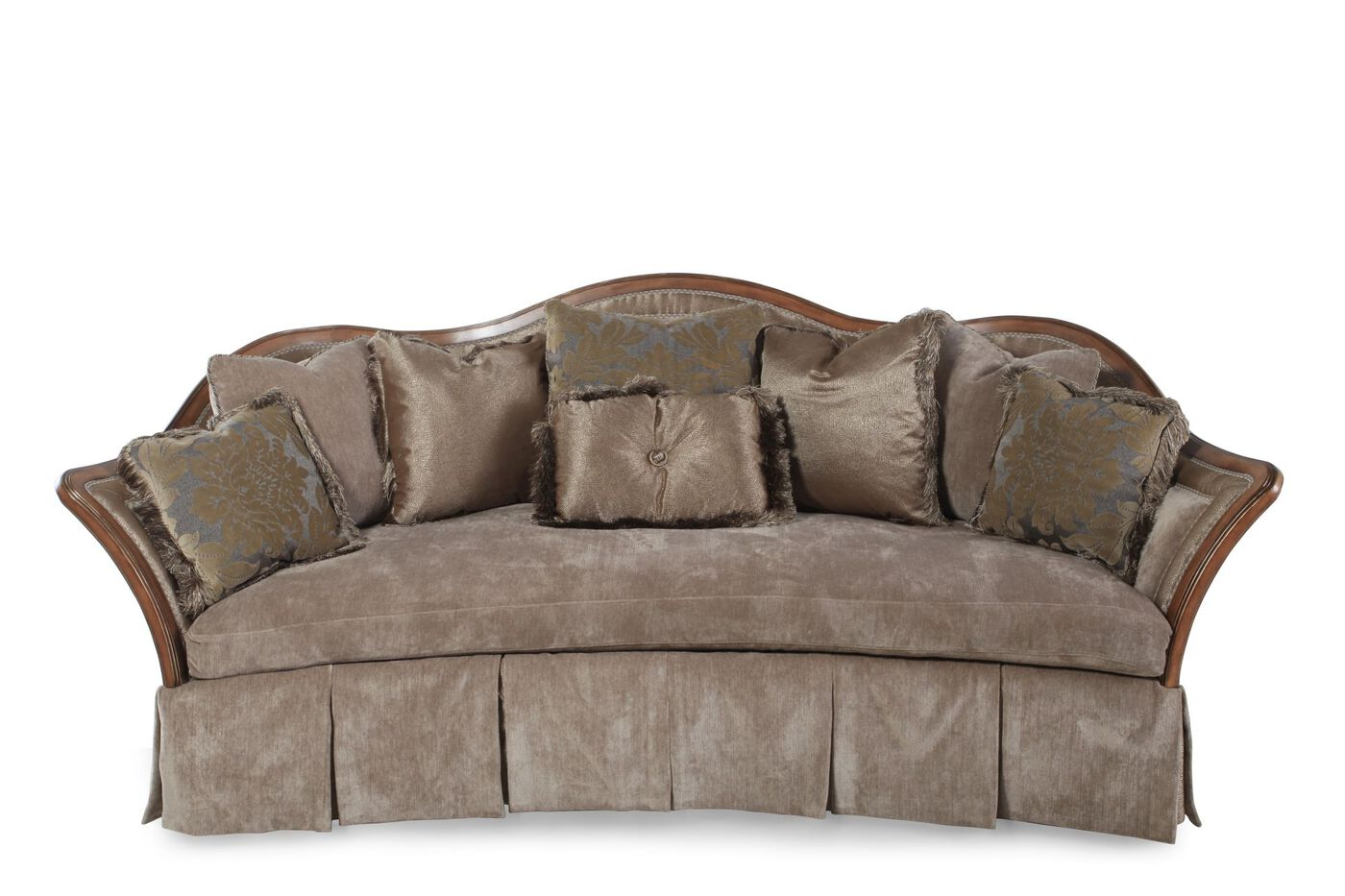 Traditional skirted 101 5 sofa in light brown mathis for Traditional sofa