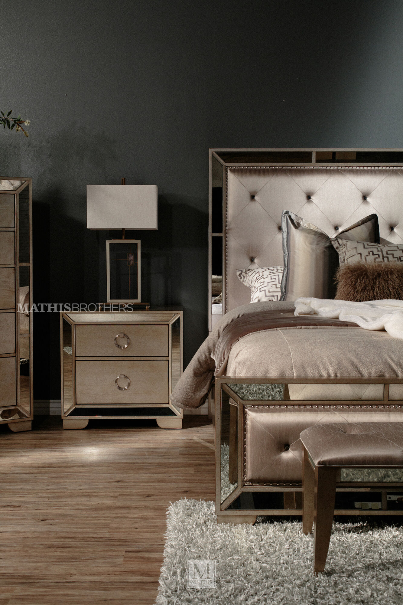 """Contemporary Tufted 54"""" Bed Bench In Silver"""