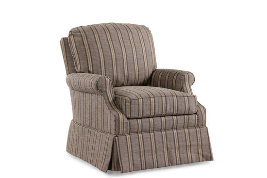 "Striped Traditional 31"" Swivel Chair in Cocoa"