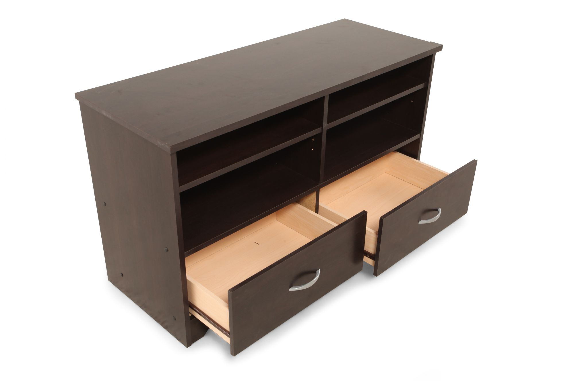 Two Drawer Contemporary Tv Stand In Cinnamon Cherry Mathis