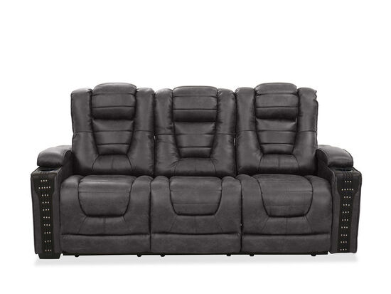 Contemporary Nailhead-Accented Power Reclining Sofa in Charcoal