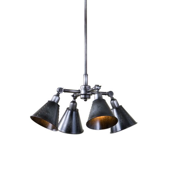 Galvanized Four-Shade Pendant Light in Smoke