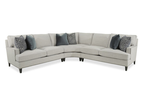 Three-Piece Rolled Arm Sectional in Beige