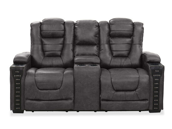 Contemporary Nailhead-Accented Power Reclining Loveseat in Charcoal