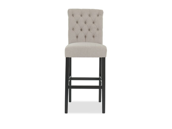 "Button Tufted 30"" Armless Bar Stool in Beige"