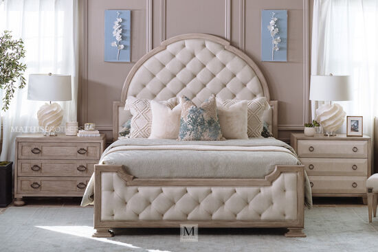 "76"" Traditional King Panel Bed in Beige"
